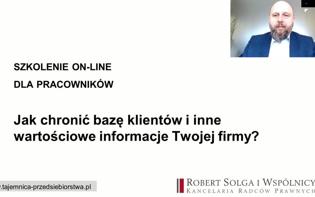 Szkolenie on-line dla pracowników: Jak chronić bazę klientów, informacje handlowe, know-how iinne tajemnice przedsiębiorstwa pracodawcy